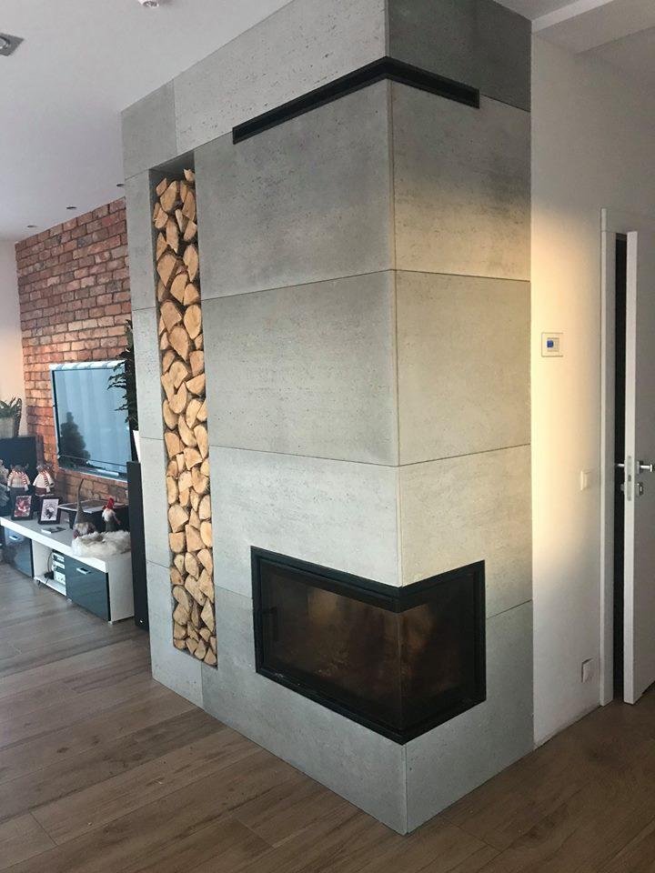 płyty betonowe na kominku