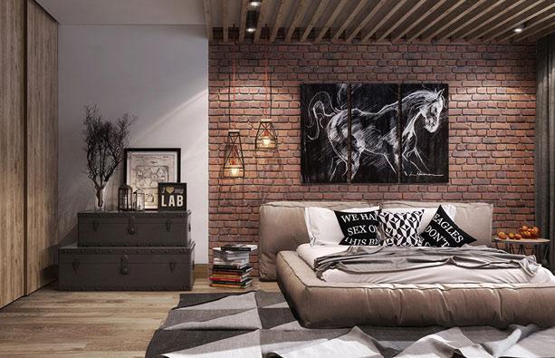 Cegła dekoracyjna na ścianie w sypialni | Warszawa